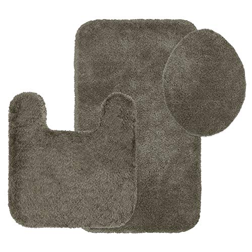 Maples Rugs Bathroom Rugs Colorsoft 3pc Non Slip Washable Bath Mats & Toilet Lid Cover Set [Made in USA] Soft & Quick Dry Mocha Latte