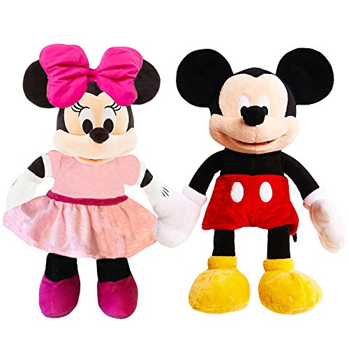 Disney Mickey Mouse and Minnie Mouse Plush Set -- Deluxe Large 15 Inch Mickey and Minnie Plush Puppet Dolls (Officially Licensed)]()