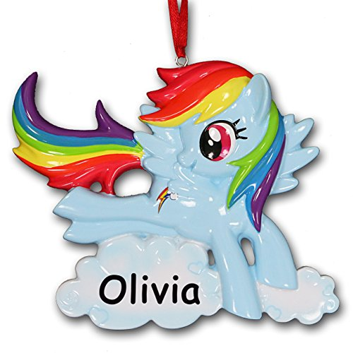 Personalized My Little Pony Rainbow Dash Custom Christmas Ornament with Your Choice of Name (Name Ornament)