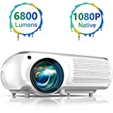 """TOPTRO Native 1080P Projector,6800 Lumens Video Projector Support 4K,Dolby,300"""" Screen with 4D ± 50° Keystone Correction and 50% Zoom,Compatible with TV Stick/Phone/Laptop/DVD/PS4/SD/USB/HDMI/VGA"""
