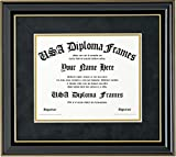 Glossy Black Mahogany with Gold Trim Diploma Frame (fits 8.5x11 or 11x14 documents)