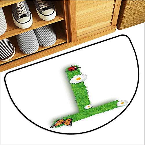 Custom&blanket Dog-Cat Mat, Letter T Non-Slip Doormats for Bedroom, Caps T with Flourishing Fragrance Botanical Design and Ladybug Girls Room (Green Multicolor, H20 x D32 Semicircle)