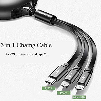 CAFELE USB Charging Cable 3 in 1 Fast Charger Cord Connector for Phone/Type C/Micro USB Port Retractable Power Adapter,Data Transfer QC 3A Compatible for Tablets/Samsung/Google Pixel and More-4FT