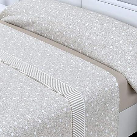 LAS TELAS Juego de sábanas sedalina Lunares Beige (135