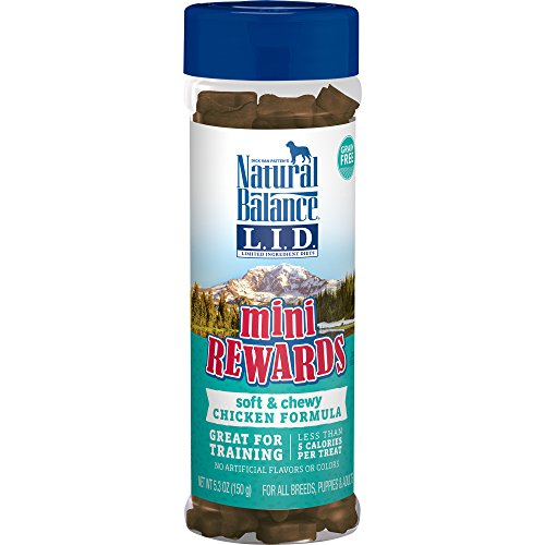 Natural Balance L.I.D. Limited Ingredient Diets Mini Rewards Soft & Chewy Chicken Formula Dog Treats, 5.3-Ounce