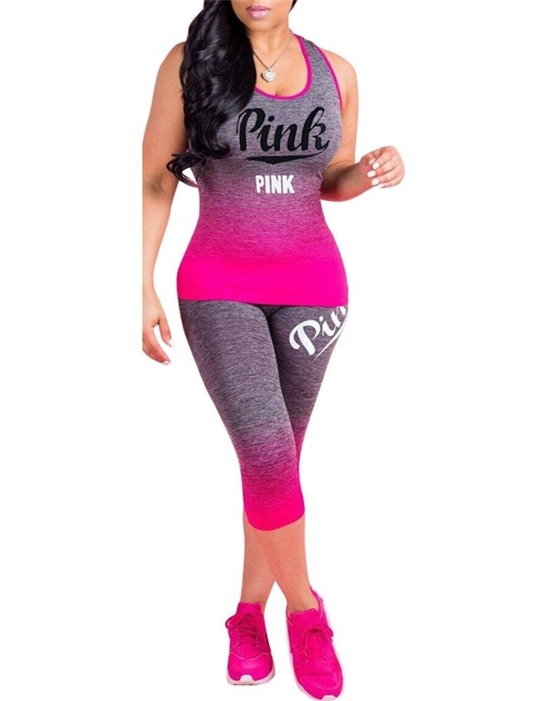 Muesily Women's Gradient Color Tank Top Tracksuit Sleeveless Pink Sport Outfits
