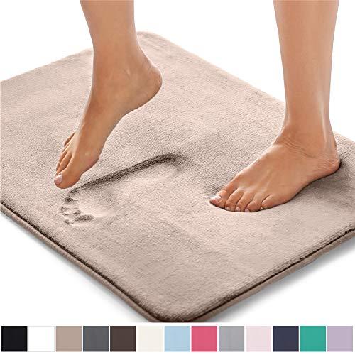 Gorilla Grip Original Thick Memory Foam Bath Rug, 24x17, Cushioned Soft Floor Mats, Absorbent Premium Bathroom Mat Rugs Rugs, Machine Washable, Luxury Plush Comfortable Carpet for Bath Room, Beige