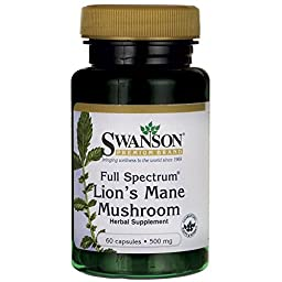 Swanson Full Spectrum Lion\'s Mane Mushroom 500 mg 60 Caps