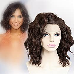 Cbwigs Mixed Brown Short Wavy Synthetic Lace Front Wigs for Women Heat Resistant 10 inch #6/8