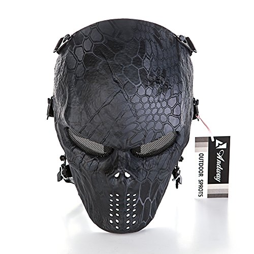 andway skull skeleton full face protective mask gear for airsoft/bb gun/ cs game and party(Airsoft Gun)