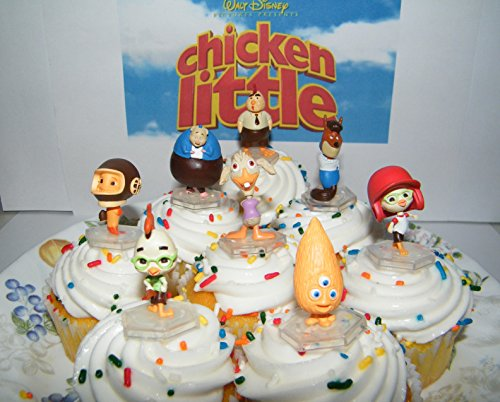 Disney Chicken Little Movie Deluxe Mini Cake Toppers Cupcake Decorations Party Favors Set of 8 Figures with Foxy Loxy, Fish Out of Water, Ugly Duckling and More! (Chicken Little Figures compare prices)