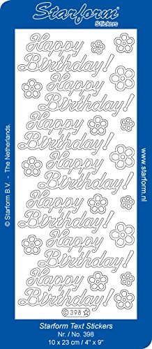 - Starform N398 TRANSPARENT GOLD HAPPY BIRTHDAY Outline Peel Sticker