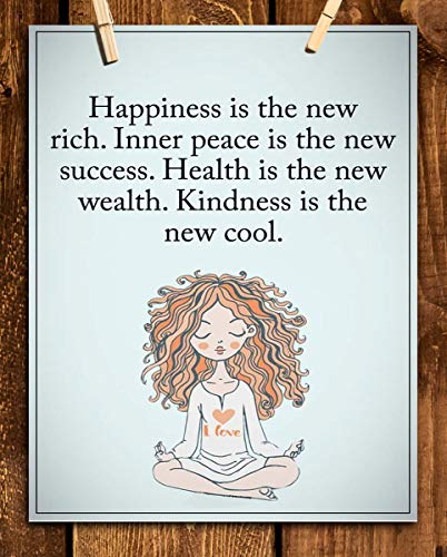 """""""Happiness is the New Rich""""- Inspirational Wall Art in Yoga Pose-8 x 10 Print Wall Print-Ready to Frame. Modern Chic Decor for Home- Office & Studio. Peace, Health & Kindness is the New Cool-Success!"""