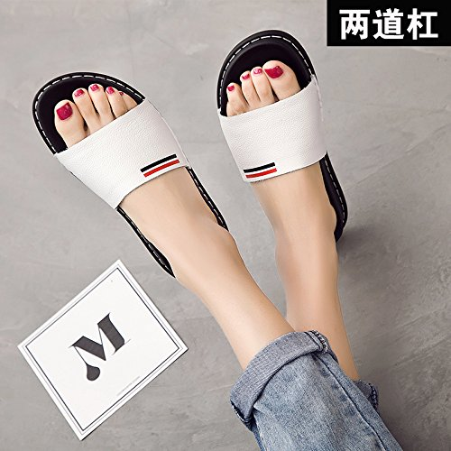 ZPPZZP Ms sandali pantofole indossa selvatici piatta scanalato 38EU bianco di stile
