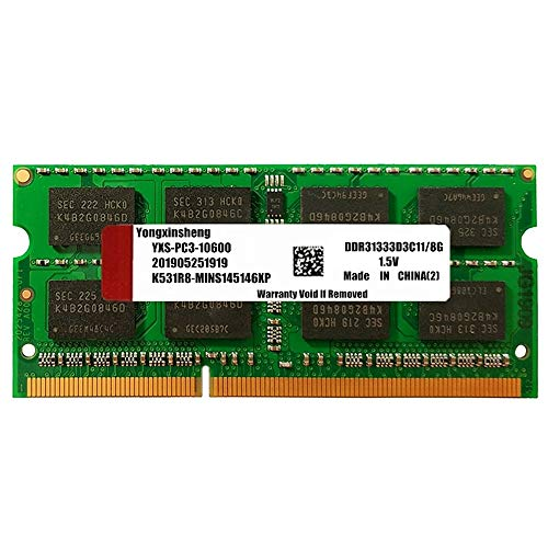 DDR3 8GB 1333MHz(PC3-10600 ) CL11 1.5V 204pin SODIMM SDRAM Non-ECC Unbuffered Stick Module for Lapktop Memory (Green)