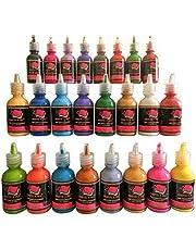 Fabric Paint 24 Colors Premium Quality 3D Permanent Vibrant Color Textile Paints dye for Fabric,Canvas,Wood,Ceramic,Glass by Crafts 4 ALL