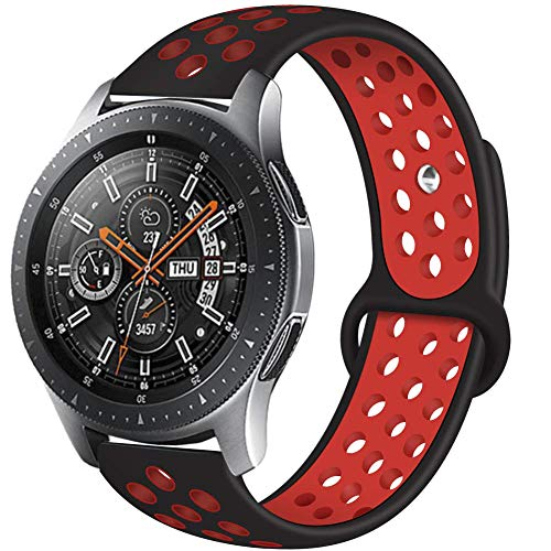 Compatible with Galaxy Watch 46mm Bands,Gear S3 Bands 22mm Silicone Breathable Replacement Strap for Samsung Galaxy Watch 46mm Band Gear S3 Frontier Smart Watch(Black-red)