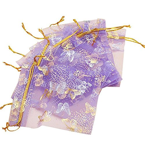 ShineBear 100pcs 10x12cm Purple Butterfly Print Gifts Bags Jewelry Packing Drawable Organza Bags for Wedding Party Gift Bags Pouches - (Color: Violet)