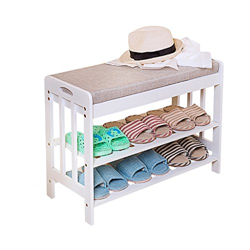 Jy Bamboo Shoe Bench [Storage Stool] [Shoebox] White Suitable for Bed Tail, Bedroom, Living Room, Study (Size : M) from Jy