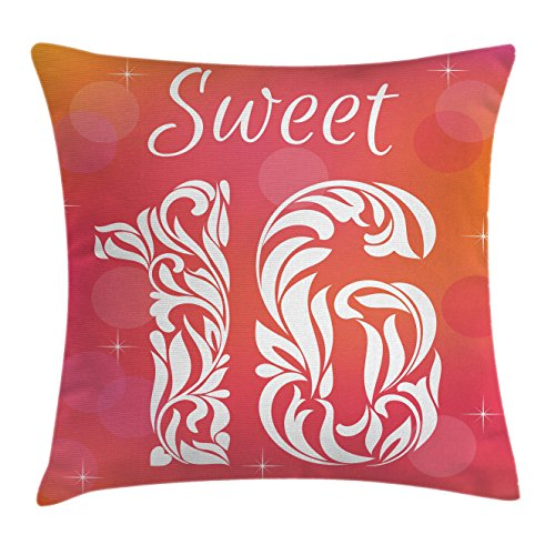 Ambesonne 16th Birthday Throw Pillow Cushion Cover, Greetings for Happy Birthday Pattern with Classic Effects Artwork, Decorative Square Accent Pillow Case, 40 X 40 Inches, Dark Coral Scarlet (Scarlet Coral)
