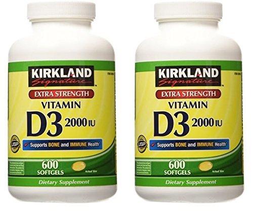 Kirkland Signature Extra Strength Vitamin D3 2000, 2 Packages (600 Softgels/Bottle)