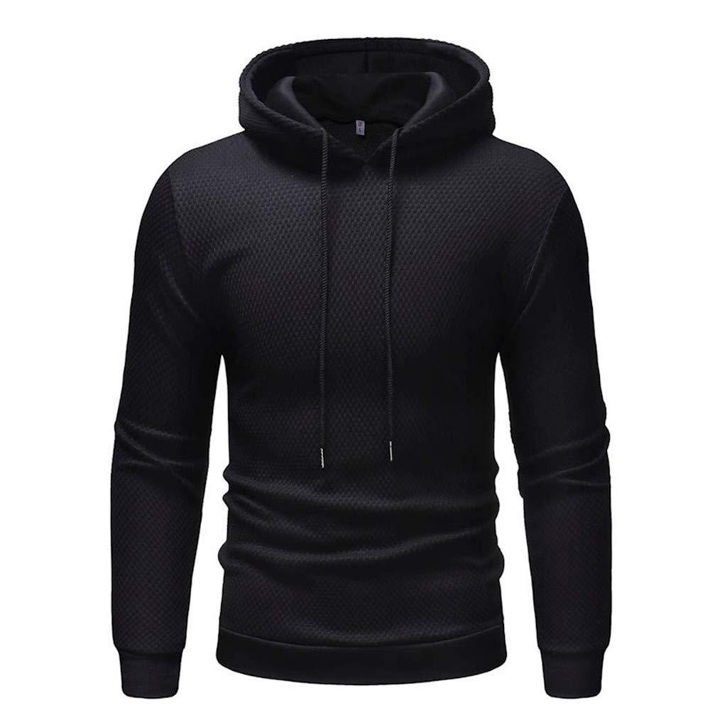 Men's Autumn Winter Solid Hooded Sweatshirt Outwear Tops Blouse PASATO New Hot!(Black, L)