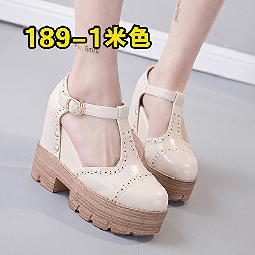 Superficial Única Plataforma Xing Beige 1 Primavera Mujer Lin De Grueso Sandalias Cuero Con Zapatos Tacón De Otoño Floja Y Hebilla Damas Sandalias Zapatos qx17Znq6
