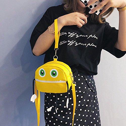 Femmes Main Poignet Noir Jaune Robot Messenger Sacs Sodial A Drole Decontractee Cartoon Sac Sangle Pour Bandouliere OaPfwz