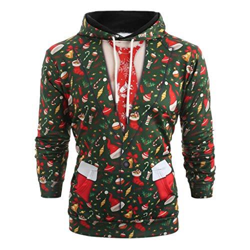 Big Sale! Men Christmas Hoodie Sweatshirt Christmas 3D Print Suit Pattern Long Sleeve Pullover Tops ()