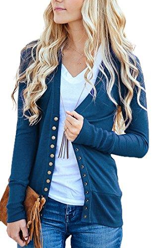 Blue Knit Cardigan Sweater - NENONA Women's V-Neck Button Down Knitwear Long Sleeve Soft Basic Knit Snap Cardigan Sweater(Navy Blue-M)