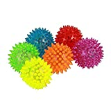 Pet Toy Squeaking Balls with Blinking LED Lights Set of 6 for Cat, Dog Pet. Comes in Bright Colors