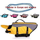 SILD Dog Life Jacket Dog Life Vest Pet Swimming Preserver Coat for Dog Surfing Boating and Swimming (M, Yellow)