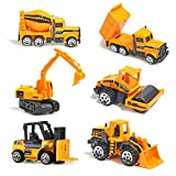 Alloy Construction Engineering Truck Models Mini Pocket Size Play Vehicles Cars Toy for Kids Toddlers Boys (6pcs Set)