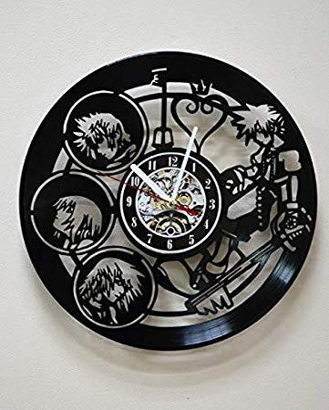 Home & Crafts Kingdom Hearts Anime Vinyl Record Wall Clock Decor Fan Art Handmade Unique Design Original Gift