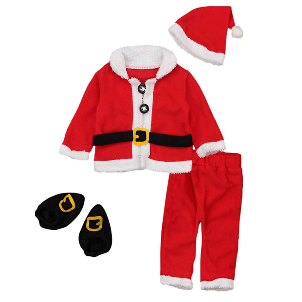 kesoto 0-24Months Baby Christmas 4Pcs Santa Claus Tops+Pants+Hat Outfit Cosplay Costume - Red, 0-6Months