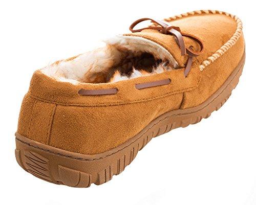 Mixin Heren Comfortabele Microsuede Instappers Rubberen Zool Indoor Outdoor Rijden Mocassins Pantoffels Schoenen Lichtbruin Met Witte Hechtdraad