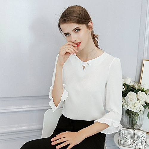 Hauts Femme Printemps YiLianDa Manches Casual Longues Loisir Tops Mousseline Blanc Chemise SwdYqwp