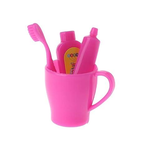 Accesorios para muñecas, Cepillo de Dientes en Miniatura Pasta de Dientes Tubo de baño Decoración