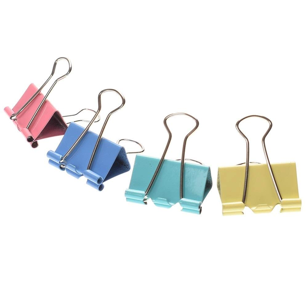 Office Colorful Metal Binder Clips Paper Clip 25mm /32mm/41mm/50mm Office Learning Supplies Color Random (Size : 41mm/24pcs) by DJ Home