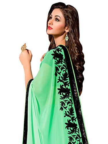 Shonaya-Womens-Embroidered-Georgette-Turquoise-Designer-Saree-With-Unstitched-Blouse-Piece