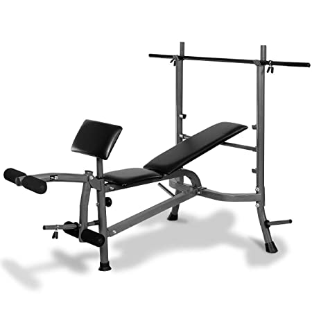 Goplus Standard Weight Lifting Bench Set Incline Flat Adjustable with 4 Weights Leg Developer Dumbbell Bar