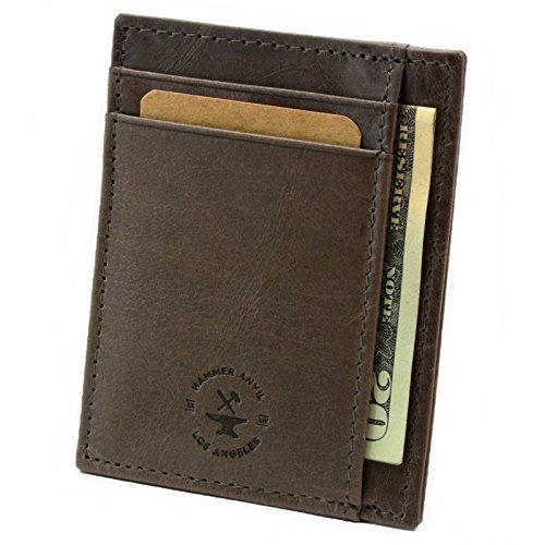 Hammer Anvil RFID Blocking Minimalist Genuine Leather Front Pocket Wallet Gray