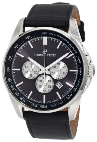 Pierre Petit Men's P-786A Serie Le Mans Black Dial Chronograph Tachymeter Leather Watch