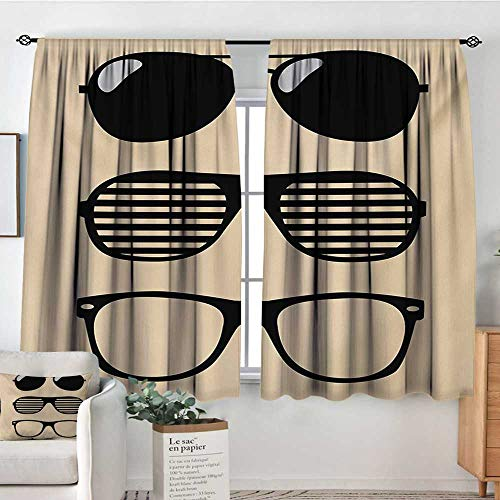 Mozenou Indie Window Curtain Drape Stylized Old Fashioned Sunglasses and Summer Accessories Hipster Vintage Print Drapes for Living Room 72