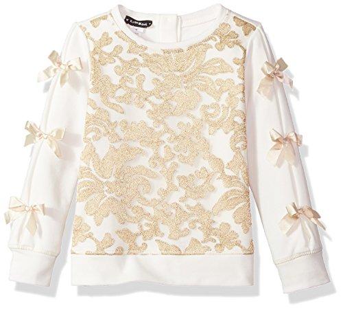 Kate Mack Little Girls' Spun Gold Sweatshirt With Lace, Cream, 4 - Kate Mack Girls Clothing