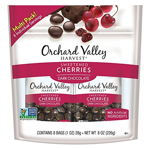 Ounce 1 Cherry - ORCHARD VALLEY HARVEST Dark Chocolate Cherries, Non-GMO, No Artificial Ingredients, 1 oz (Pack of 8)
