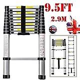 Jason Telescopic Ladder EN131 | 2.9M High Quality Max load 330lbs Aluminum Ladder 10FT Extendable Ladder [Step A +++](9.5FT/2.9M)