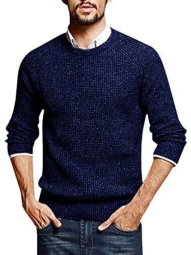 EastLife Mens Crewneck Long Sleeve Cable Knitted Slim Fit Pullover Fall Casual Sweaters (Medium, Blue) (Cable Mens Crewneck)