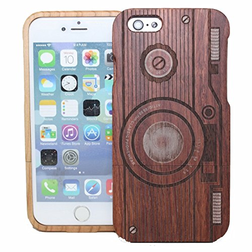 UCMDA High Quality Stripe Camera Pattern Handmade Natural Wood Wooden Hard Bamboo Shockproof Case for iPhone 6 Plus 5.5 Inch