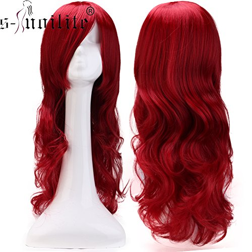 Mens Red Ponytail Wig (2-5 Days Delivery Unisex Japanese Anime Cosplay Wigs Synthetic Long Curly Full Party Costume Wig Layered with Bangs and Cap Halloween Wigs for Women Men Girl Boy Teens (24